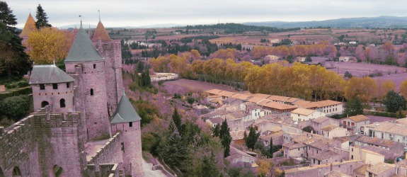 Carcassonne old and new city view