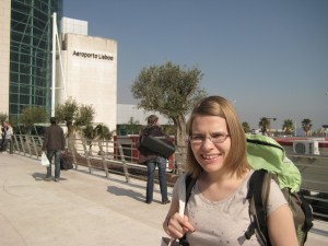 Monika outside Lisbon airport