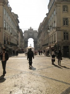Pedestrian friendly Rue Augusta in Lisbon