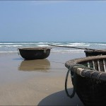 Fishing coracles at China Beach, Vietnam