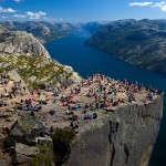 The iconic Pulpit Rock rises 600 metres above the Lysefjord in Norway.