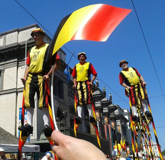 Stilt walkers on Belgian day